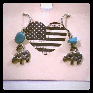 Brandy Melville Turquoise Bear Dangle Earrings
